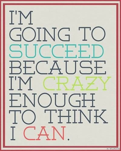 I'm Going To Succeed Because I'm Crazy Enough To Think I Can