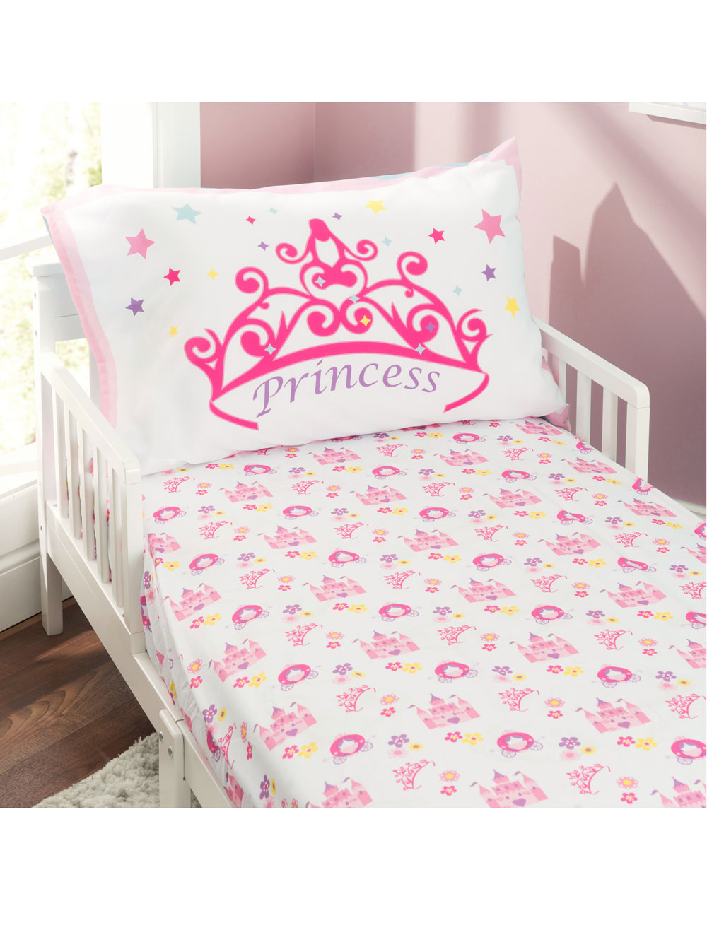4 piece toddler bedding set by everyday kids in blue pink green