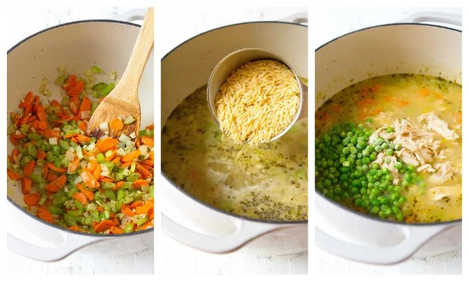 Vegetables cooking in saucepan, pouring in orzo, stirring in peas.