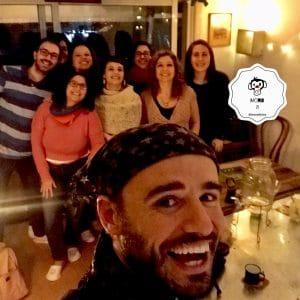 Selfie cena en pantuflas