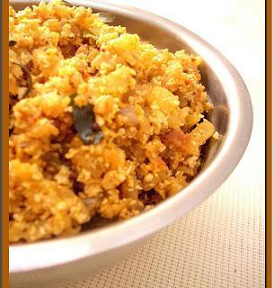 Vazha Pindi Thoran / Banana Stem Cooked with Coconut