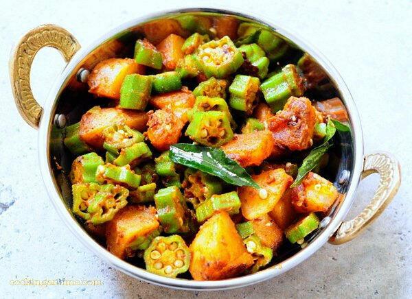 aloo okra sukhi subzi recipe