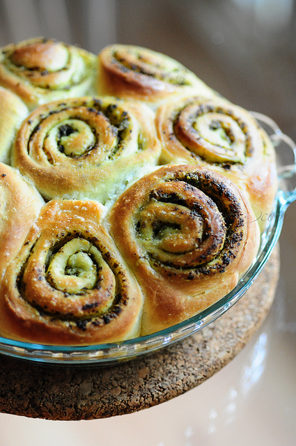 Eggless Pesto Pull-Apart Rolls Recipe