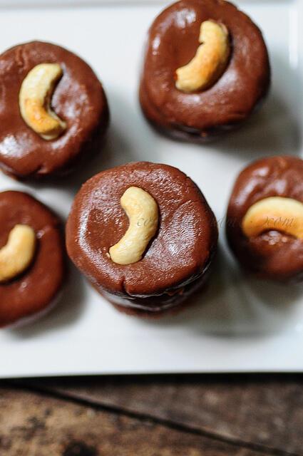 Milk Chocolate Peda-Chocolate Burfi-Diwali Sweets