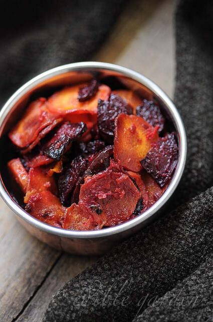 carrot beetroot stir fry - carrot beetroot mezhukkupuratti recipe