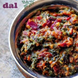 Beetroot Leaves Dal – Masoor Dal Recipe with Beet Leaves
