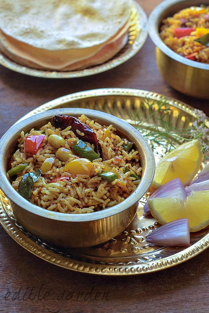 capsicum rice, capsicum masala rice recipe
