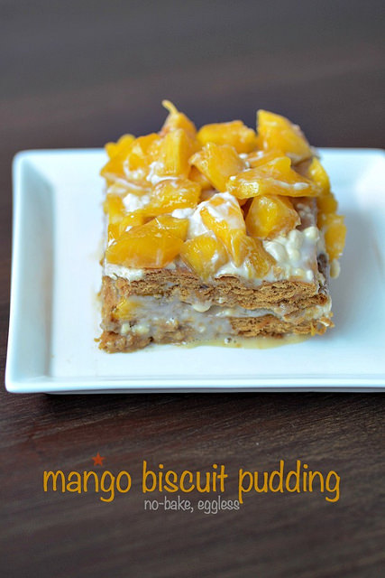 Eggless no bake mango biscuit pudding recipe step by step