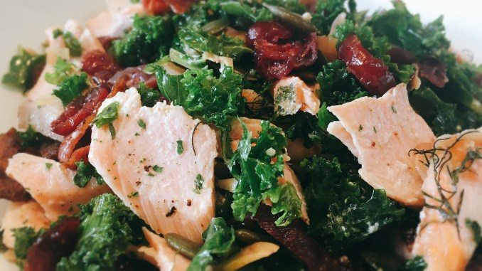 Salmon Kale and Cranberry Salad