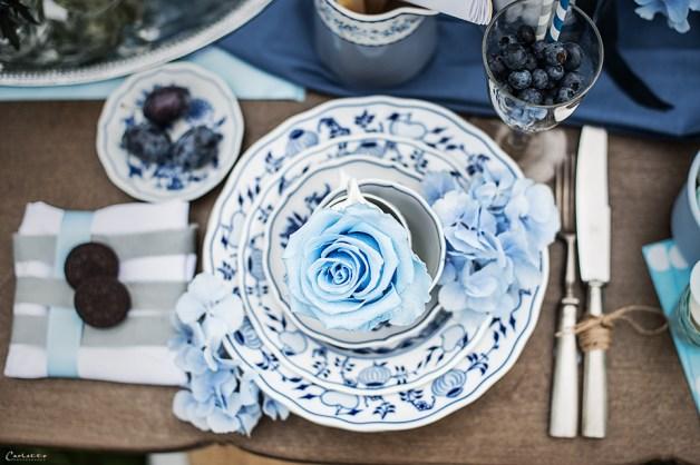 blaues Porzellan mit Zwetschgen