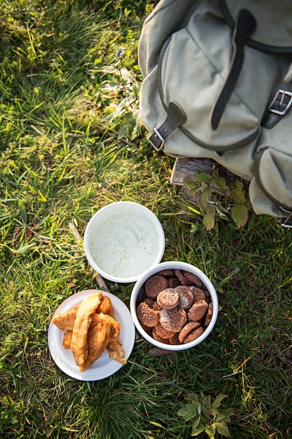 Rucksack, Geschirr mit Handschnitzerl, Kekse auf Gras, Rezepte für Unterwegs