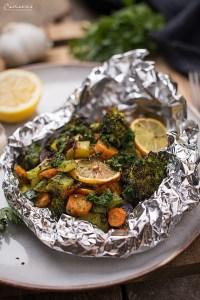 Folien-Gemüse-Packerln mit Kräuter Marinade