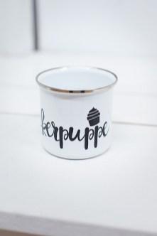 Emaille Tasse Zuckerpuppe