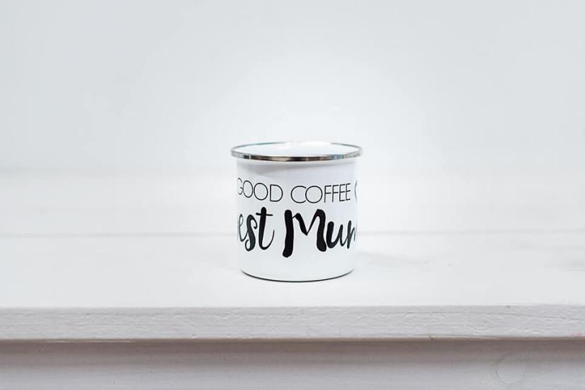 Emaille Tasse Good Coffee Best Mom