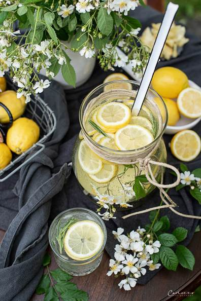 Gartenshooting Zitronen Bowle mit Rosmarin_7962