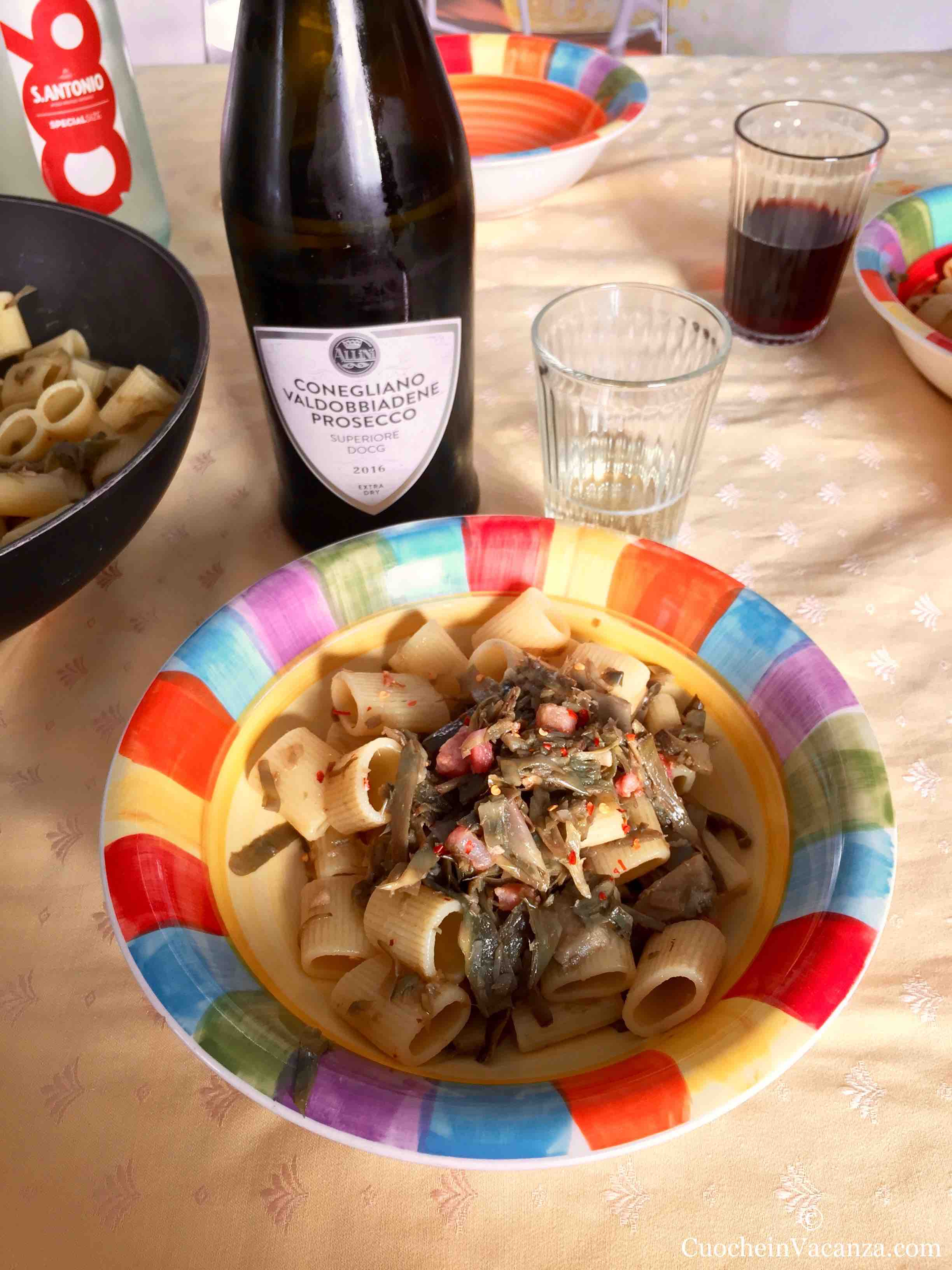 artichokes and pasta from chef in tuscany