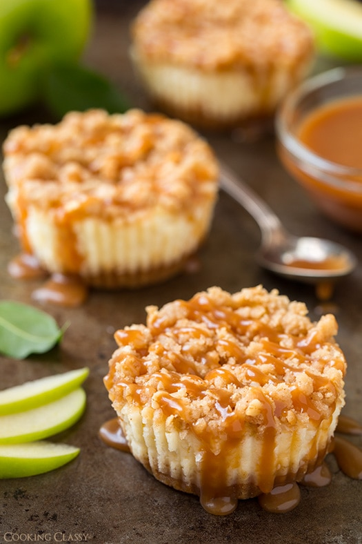 Caramel Apple Mini Cheesecakes with Streusel Topping by Cooking Classy