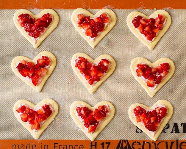 Heart Shaped Strawberry Cream Cheese Breakfast Pastries