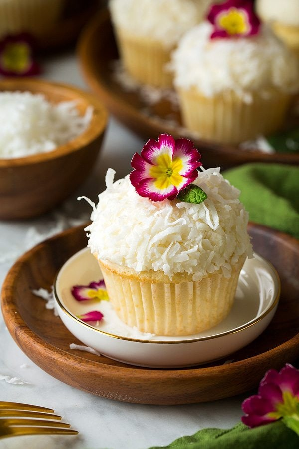 Coconut Cupcakes With Coconut Buttercream Frosting Cooking Classy