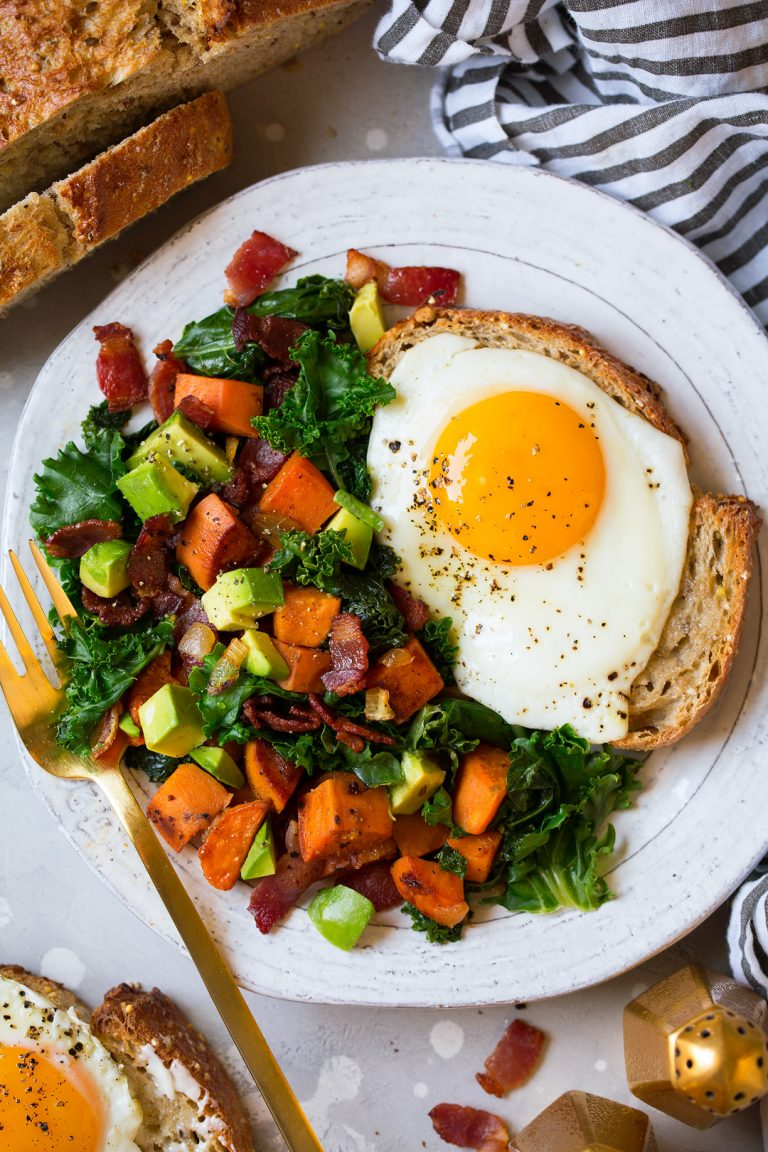 Sweet Potato Kale Hash With A Fried Egg