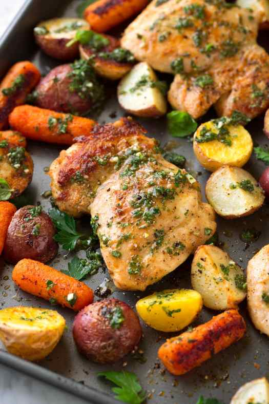 Roasted Chicken and Veggies with Herb Vinaigrette