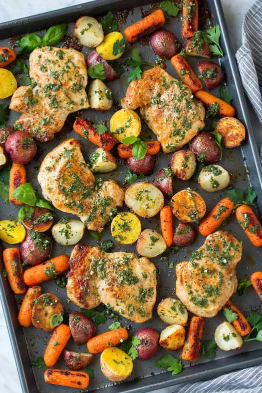 Sheet Pan Roasted Chicken and Veggies with Herb Vinaigrette