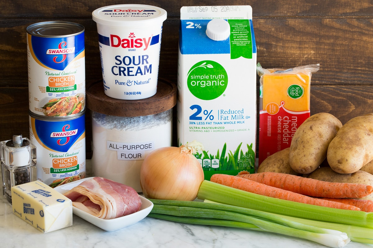 Photo of ingredients used to make homemade potato soup. Includes russet potatoes, milk, carrots, celery, yellow onion, flour, sour cream, butter, chicken broth, salt, pepper and optional bacon, green onions, and cheddar cheese.