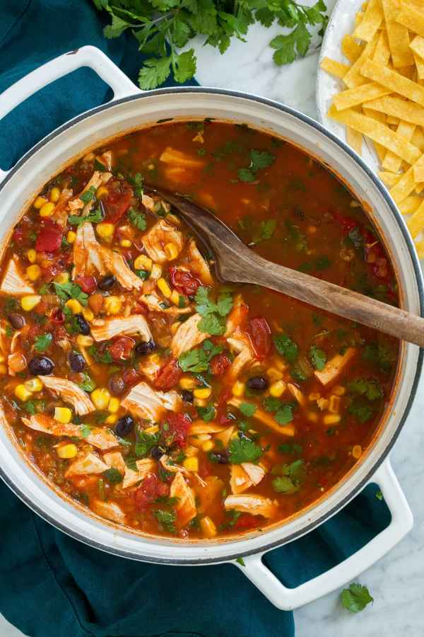 Chicken Tortilla Soup shown overhead in a large white pot, with corn tortilla strips on the side.