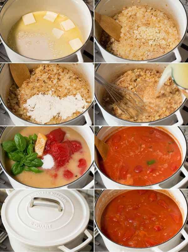 Collage of eight pictures showing steps for making tomato soup in a large saucepan on the stove. Shows sautéed onions, garlic, flour in butter and adds tomatoes, broth and spices. Then let it simmer.