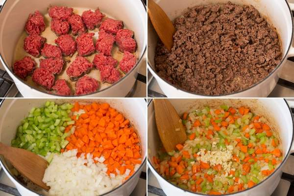 Collage of four pictures showing how to brown beef and brown vegetables for soup in the pot.