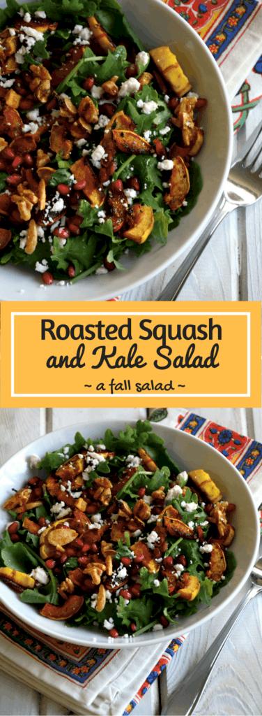 Roasted Squash and Kale Salad - Fall Salad Recipe - Thanksgiving Side - Vegetarian