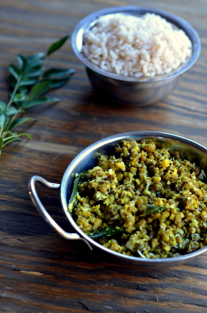 Cherupayar Thoran - Green Mung Saute with Coconut - Kerala Recipe Indian Recipe Vegetarian Vegan -Cooking Curries