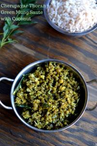 Cherupayar Thoran ~ Green Mung Saute with Coconut