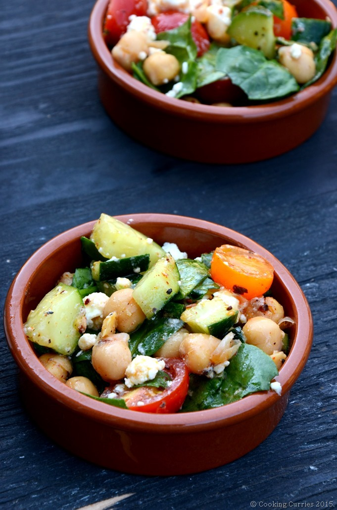 Harissa Marinated Chickpea Salad with Lemon and Feta - Cooking Curries - Vegetarian Salad Recipe