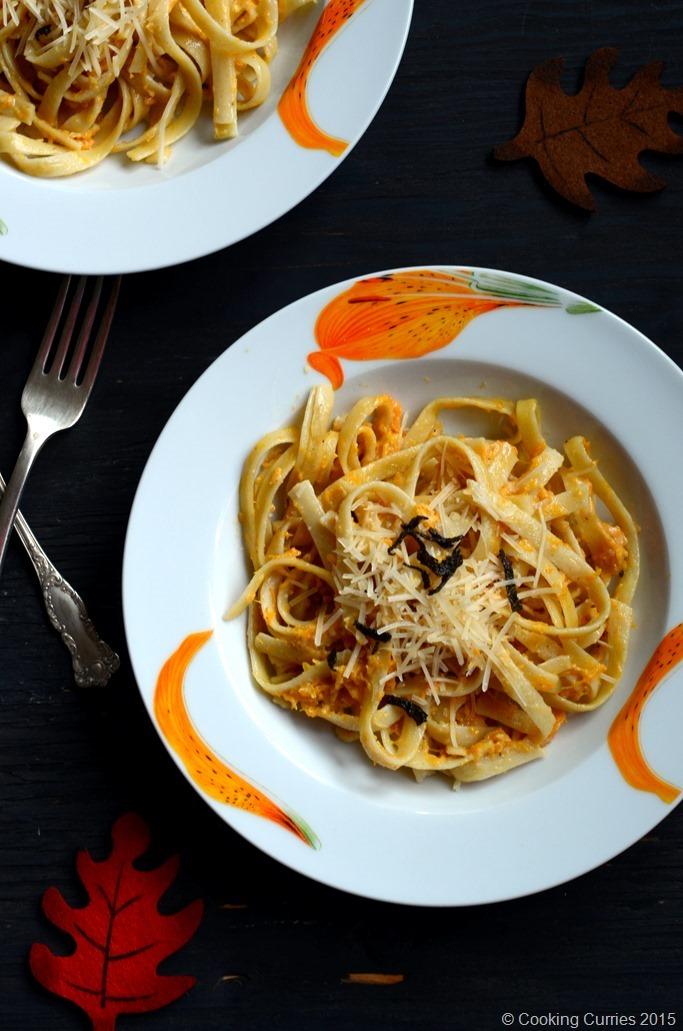 Fettucine with Butternut Squash Alfredo - Fall Recipe, Thanksgiving Recipe, Vegetarian, Pasta Recipe - Cooking Curries (2)