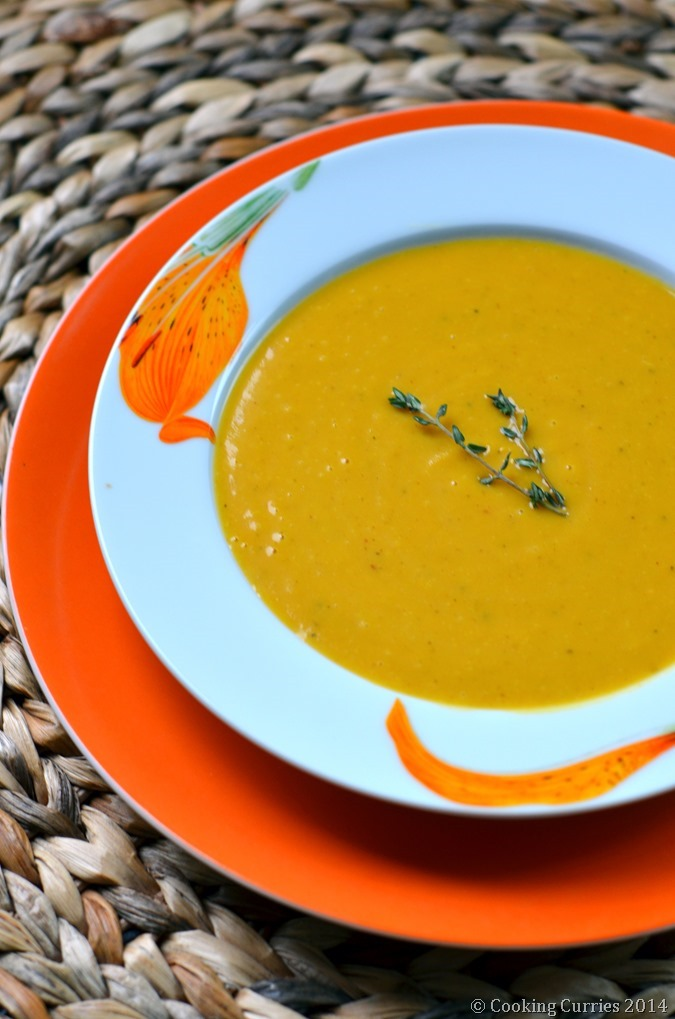 Carrot Sweet Potato Soup with Cannellini Beans - Vegetarian , Fall Recipe, Soups, Thanksgiving - Cooking Curries (3)