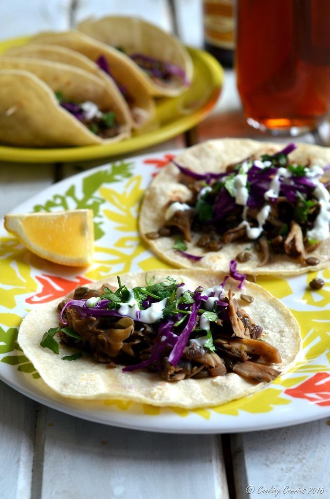 Green Lentils and Maitake Mushrooms Tacos - Gluten Free, Vegetarian - Cooking Curries