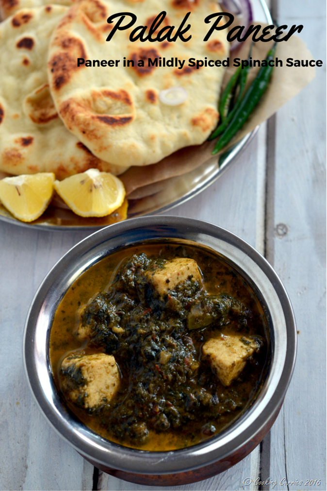 Palak Paneer - Paneer in a mildly spiced Spinach sauce - vegetarian, gluten free - Cooking Curries