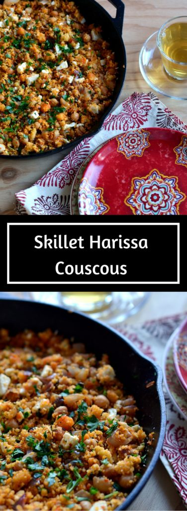Skillet Harissa Couscous - A deliciously put together weeknight meal of Skillet Harissa Couscous with Chickpeas, Spinach and Feta