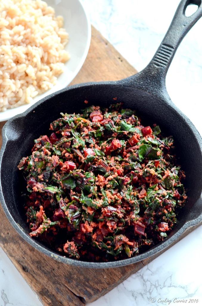 Beetroot Leaves Thoran - Beetroot Leaves Saute in Coconut - Vegan , Vegetarian , Gluten Free. www.cookingcurries.com (2)