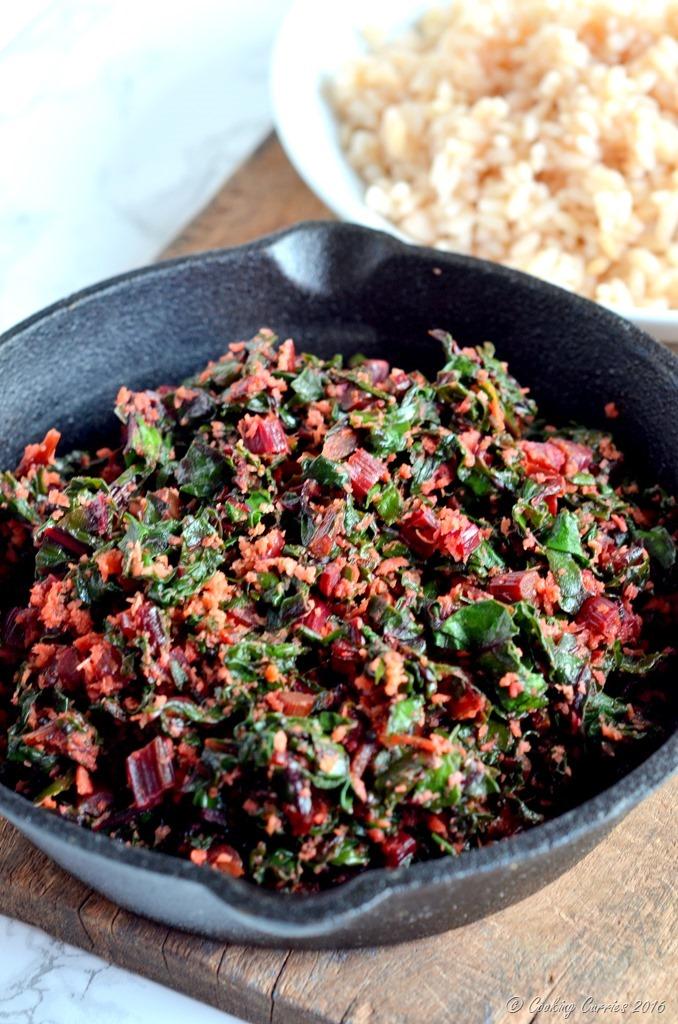 Beetroot Leaves Thoran - Beetroot Leaves Saute in Coconut - Vegan , Vegetarian , Gluten Free. www.cookingcurries.com (4)
