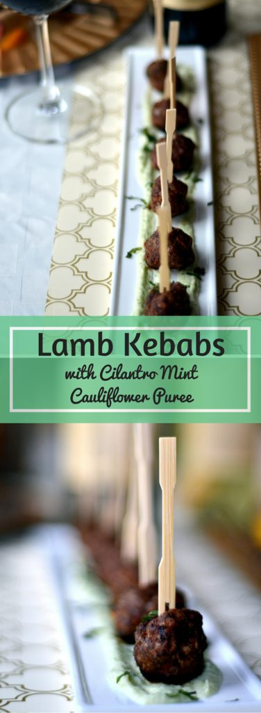 Lamb Kebabs with Cilantro Mint Cauliflower Puree - These lightly spiced lamb kebabs with a cilantro mint cauliflower puree, puts your entertaining to the next level. They are the perfect bite sized appetizers to serve at your next party!