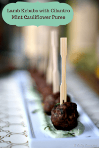 Lamb Kebabs with Cilantro Mint Cauliflower Puree