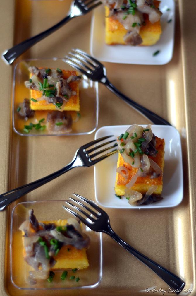 Truffle Polenta Crostini with Wild Mushroom Saute - Appetizer for Entertaining www.cookingcurries.com (3)