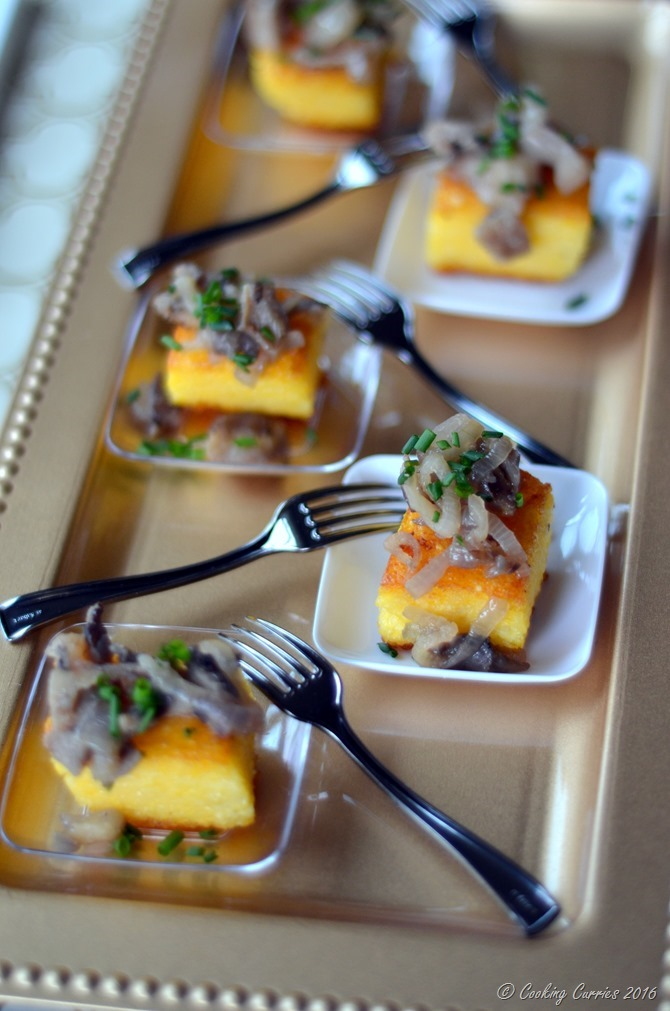 Truffle Polenta Crostini with Wild Mushroom Saute - Appetizer for Entertaining www.cookingcurries.com