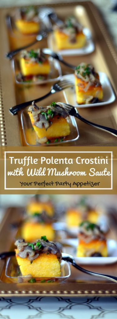 Truffle Polenta Crostini with Wild Mushroom Saute - Give your appetizers some oomph when you are entertaining the next time, with these bite sized Truffle Polenta Crostini with Wild Mushroom Sauté