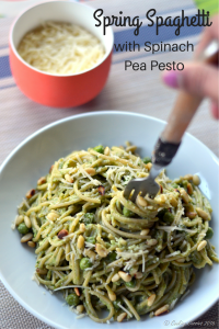 Spring Spaghetti with Spinach Pea Pesto