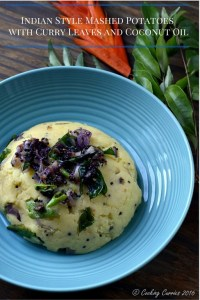 Indian Style Mashed Potatoes with Curry Leaves and Coconut Oil - Vegan | Gluten Free - www.cookingcurries.com