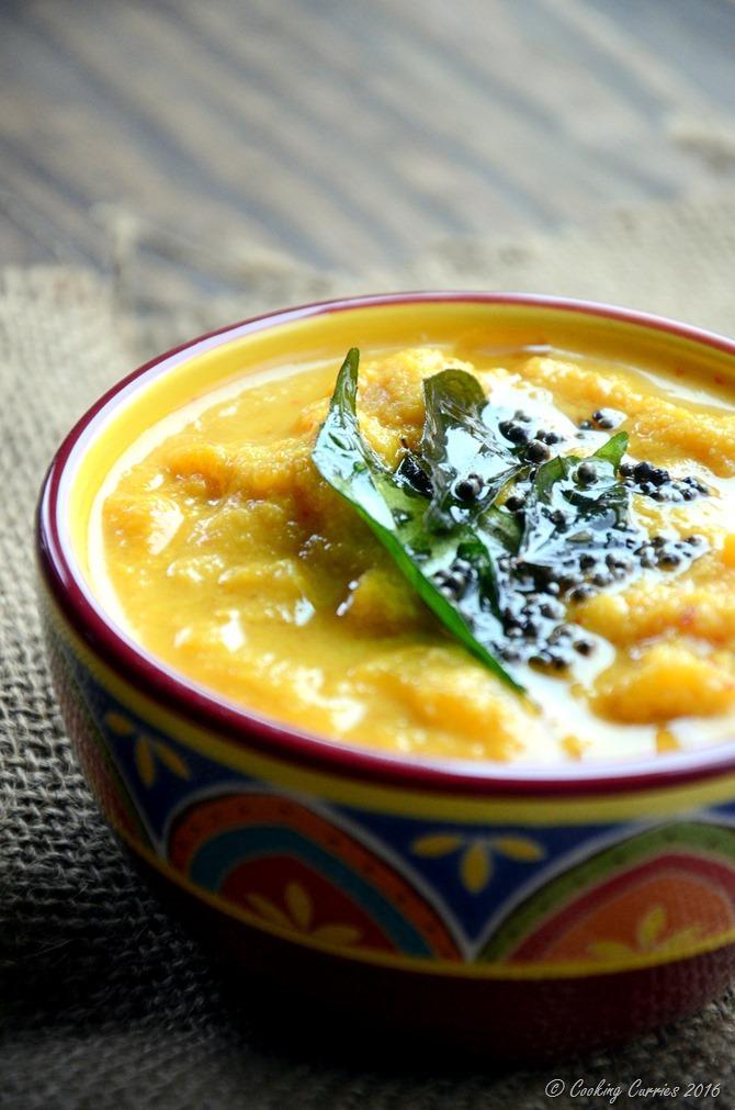 Mambazha Pachadi - Ripe MAngoes in a Lightly Spiced Coconut Sauce - Kerala Sadya Recipe for Onam, Vishu - Vegan , Vegetarian - www.cookingcurries.com
