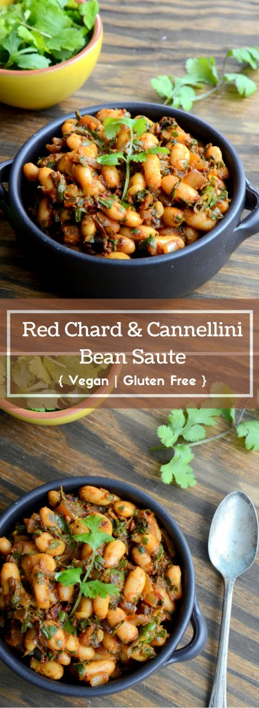 Red Chard and Cannellini Bean Saute - Vegan, Gluten Free - www.cookingcurries.com (5)